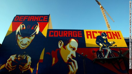 Art Murals are seen outside the Nike and the Lance Armstrong Foundation's Global Art Exhibition Hollywood, California.