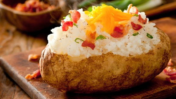 A baked potato has about 160 calories -- and that doesn