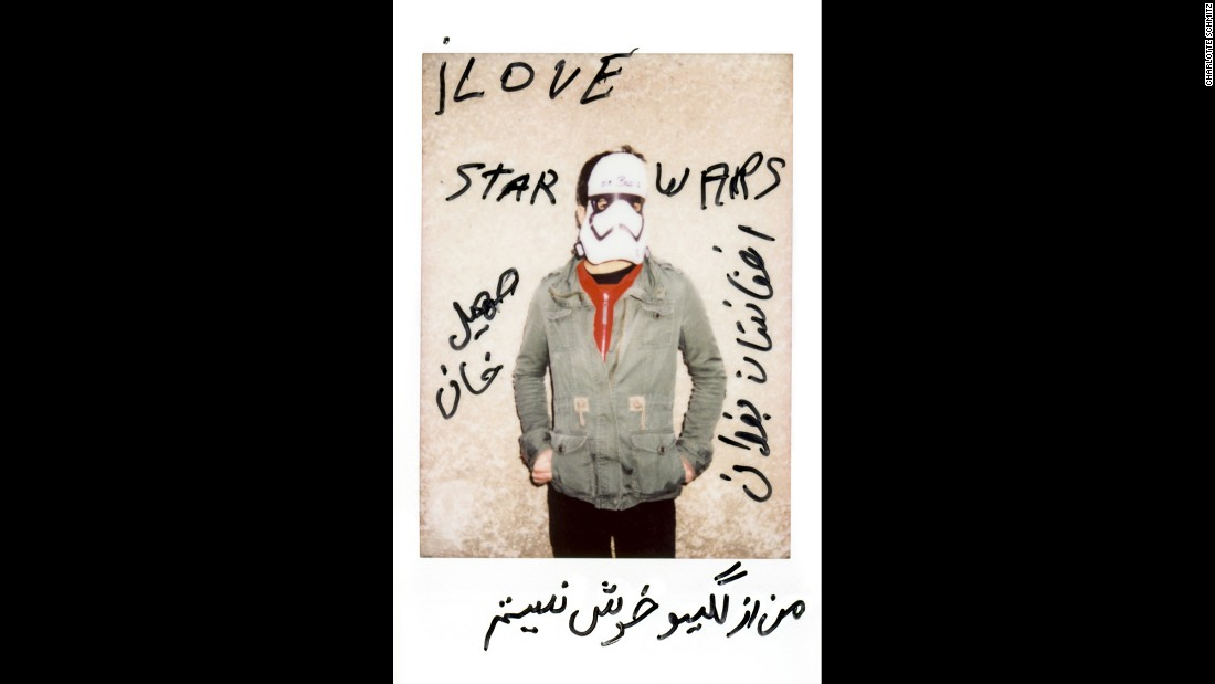 """I love Star Wars,"" wrote Soheil Khan, who is from Baghdad, Afghanistan. The translation of the rest, as he explained to Schmitz, was ""I'm empty inside."""