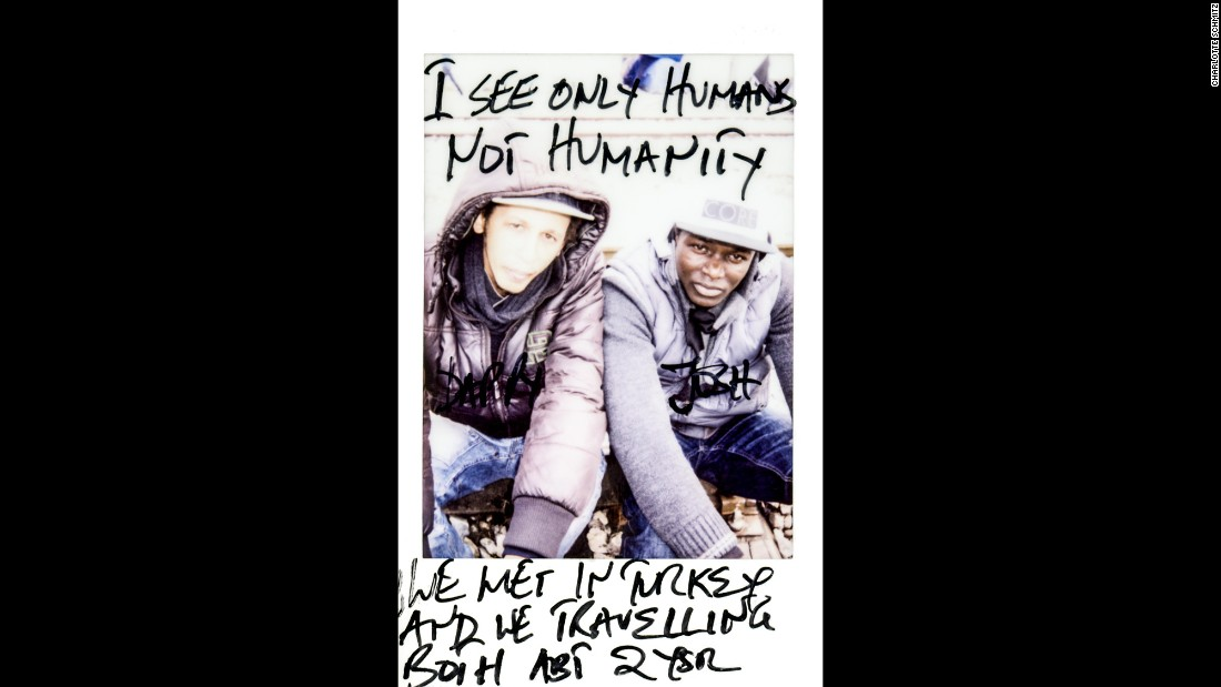 """I see only humans, not humanity,"" it says on this photo of Dappy and Josh. They met in Turkey and have been traveling together for about two years."