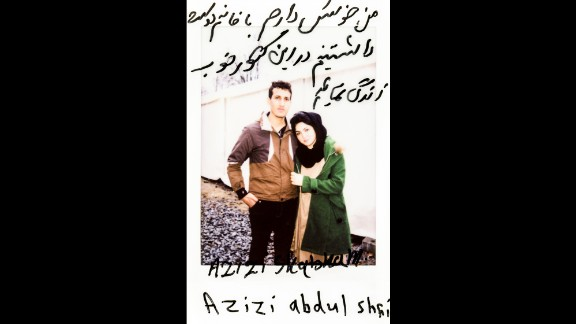 """Azizi Shabnan and Azizi Abdul Shahi pose together. The translation: """"I would like to live my life with this lovely woman in this nice country."""""""
