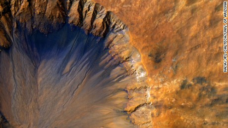 An image of the surface of Mars which was battered by comets and asteroids 4 billion years ago.