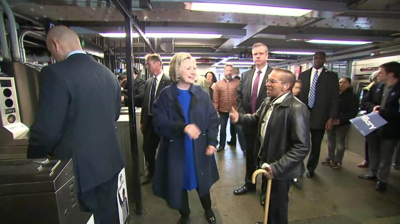 Hillary Clinton rides the subway