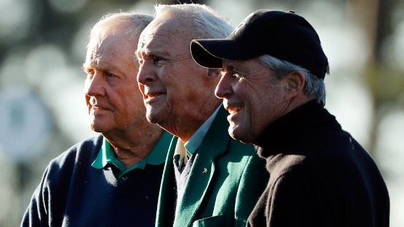 Arnold Palmer, center, joined Nicklaus, left, and Player on the first tee. The trio has won 13 Masters combined.