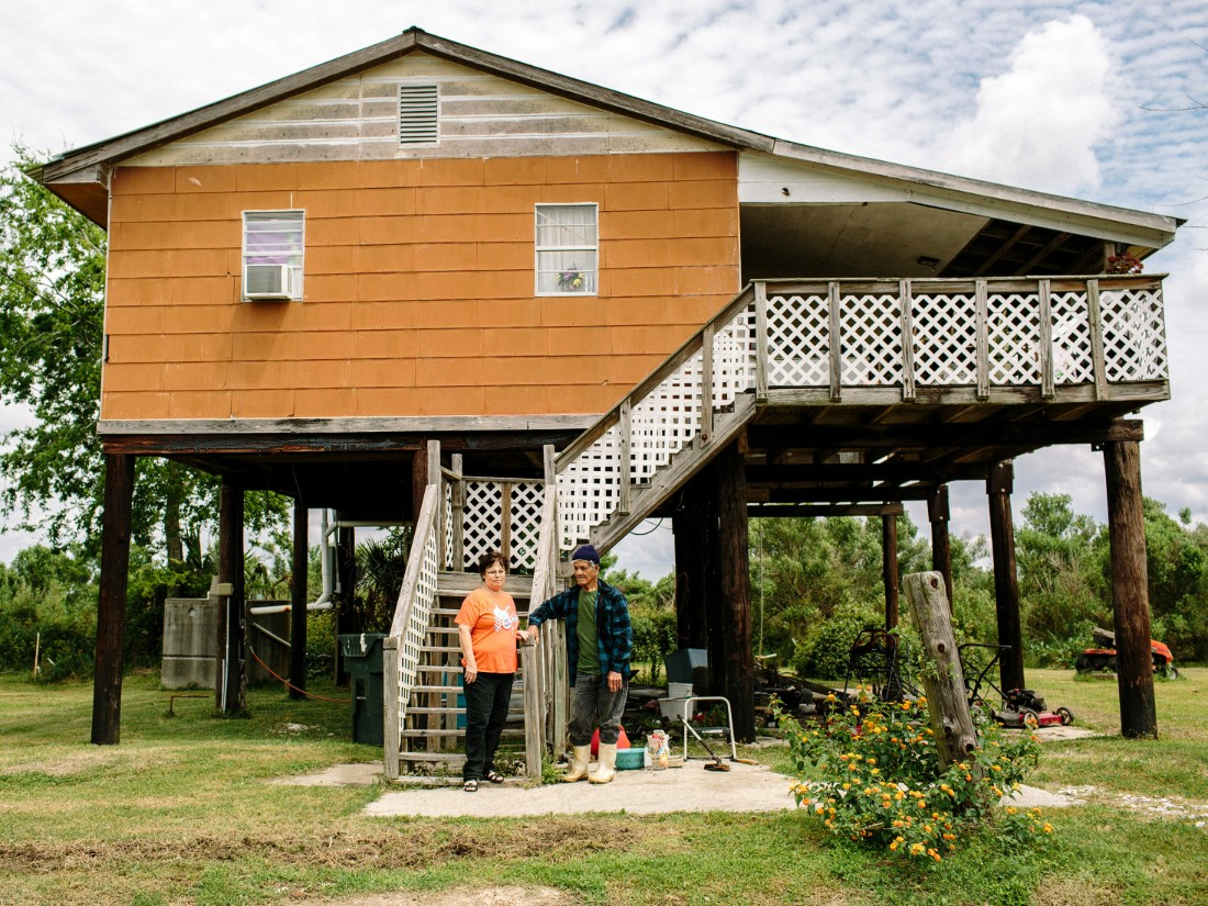 "The U.S. Department of Housing and Urban Development recently announced a $48 million grant to help relocate residents. Rita Falgout and her husband, Roosevelt ""Rooster"" Falgout, have lived on the marshy island for 22 years."