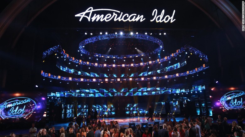 "The stage at the ""American Idol"" farewell season finale at the Dolby Theatre on Thursday, April 7, 2016, in Los Angeles. (Photo by Matt Sayles/Invision/AP)"