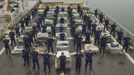 The U.S. Coast Guard displays a reported 14 tons of cocaine stacked on the deck of a Cutter in San Diego