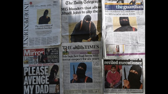 """In February 2015, British newspapers report the identity of """"Jihadi John,"""" the disguised man with a British accent who had appeared in ISIS videos executing Western hostages. The militant was identified as Mohammed Emwazi, a Kuwaiti-born Londoner. On November 12, 2015, the Pentagon announced that Emwazi was in a vehicle <a href=""""http://www.cnn.com/2015/11/13/middleeast/jihadi-john-airstrike-target/"""" target=""""_blank"""">hit by a drone strike.</a> ISIS later confirmed his death."""
