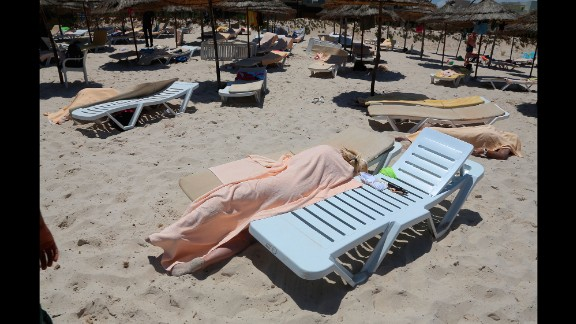Dead bodies lie near a beachside hotel in Sousse, Tunisia, after a gunman opened fire on June 26, 2015. ISIS claimed responsibility for the attack, which killed at least 38 people and wounded at least 36 others, many of them Western tourists. Two U.S. officials said they believed the attack might have been inspired by ISIS but not directed by it.