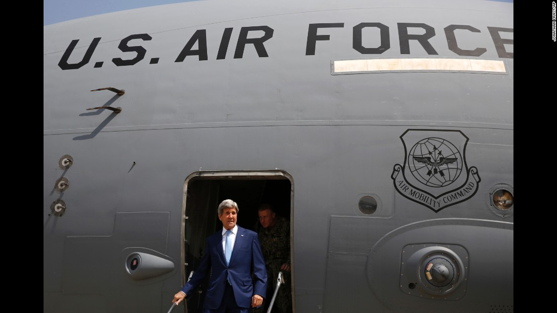 "U.S. Secretary of State John Kerry arrives at Baghdad International Airport in Baghdad, Iraq, on Friday, April 8. The <a href=""http://www.cnn.com/2016/04/08/politics/john-kerry-iraq-abadi-isis-fight/"" target=""_blank"">unannounced visit</a> is part of an effort to shore up an embattled prime minister fighting to stay in office."