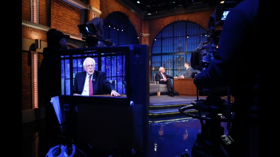 """Presidential candidate Bernie Sanders is interviewed by """"Late Night"""" host Seth Meyers on Thursday, April 7."""