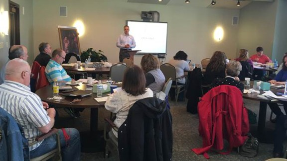 Vince Frese speaks to divorced Catholics at a retreat held by the Diocese of Toledo.