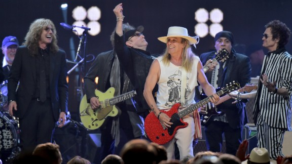"Inductee Robin Zander of Cheap Trick performs at the 31st Rock And Roll Hall Of Fame induction ceremony on Friday, April 8, in New York City. When Cheap Trick cut its first album in 1977, it established a signature sound, the Hall of Fame said. ""It has never changed it much. It didn"
