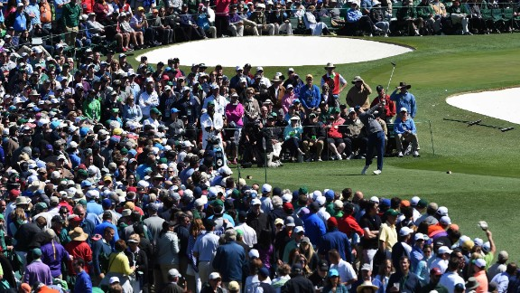 Spieth hits a tee shot during the third round on Saturday, April 9. Spieth shot a 1-over 73 to lead the tournament for a third straight day.