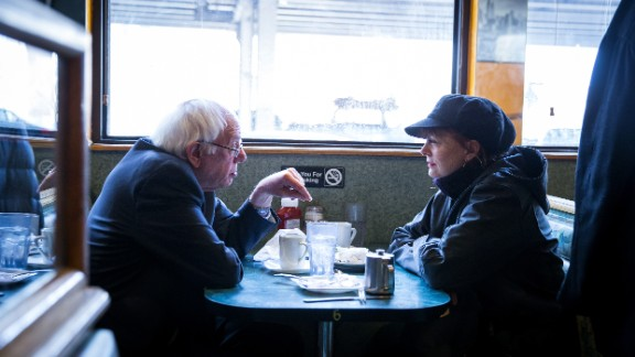 Democratic presidential candidate Sen. Bernie Sanders and actress Susan Sarandon visit a diner on Friday, April 8, in the Brooklyn borough of New York City. The New York Democratic primary is scheduled for April 19. Sanders won the Wyoming Democratic caucuses on Saturday, April 9 -- his eighth victory in the last nine contests.