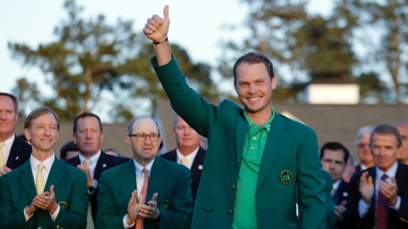 Danny Willett gives the crowd a thumbs-up after he won the Masters tournament Sunday, April 10. Willett shot a 5-under 67 to win the tournament by three strokes over Jordan Spieth and Lee Westwood. He is the first Englishman to win the Masters since Nick Faldo in 1996. Follow CNN's live Masters blog