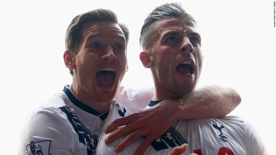 Toby Alderweireld (right) is embraced by fellow central defender Jan Vertonghen after heading Tottenham's second.