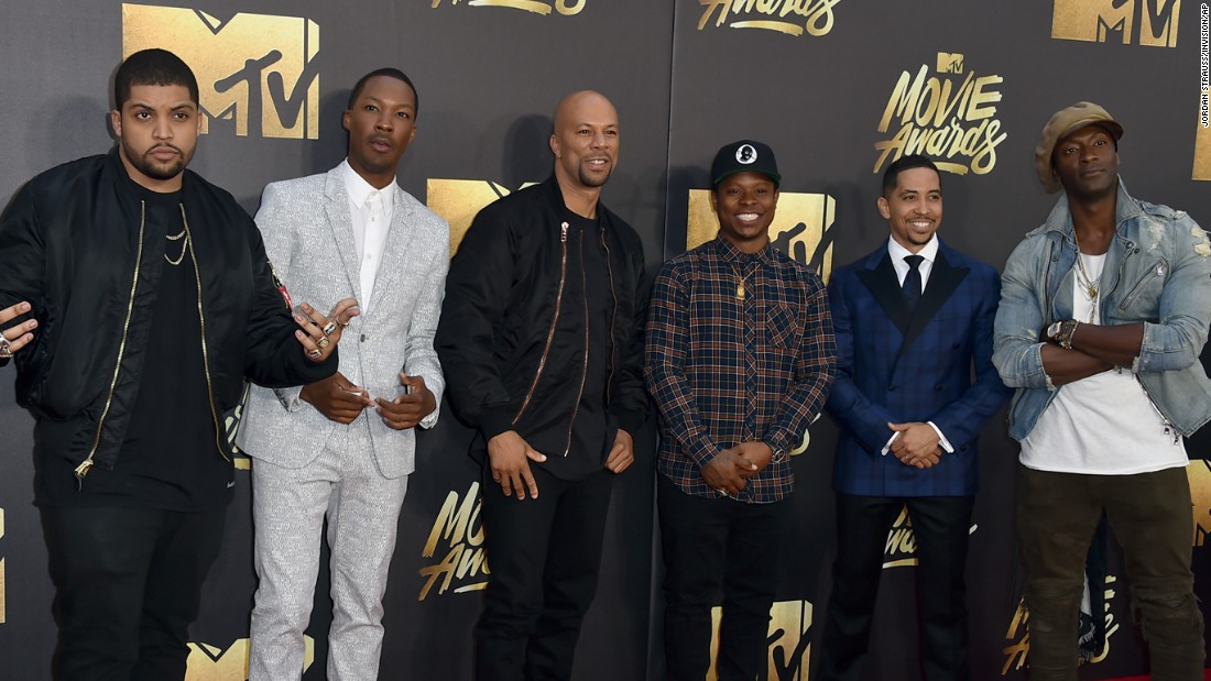 From left: O'Shea Jackson Jr., Corey Hawkins, Common, Jason Mitchell, Neil Brown Jr., Aldis Hodge