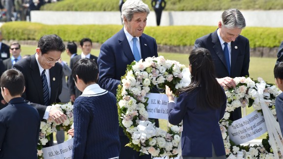 US Secretary of State John Kerry, Japanese Foreign Minister Fumio Kishida and British Foreign Secretary Philip Hammond laid wreath sat the Memorial Cenotaph for the 1945 atomic bombing victims in the Peace Memorial Park in Hiroshima, Japan.
