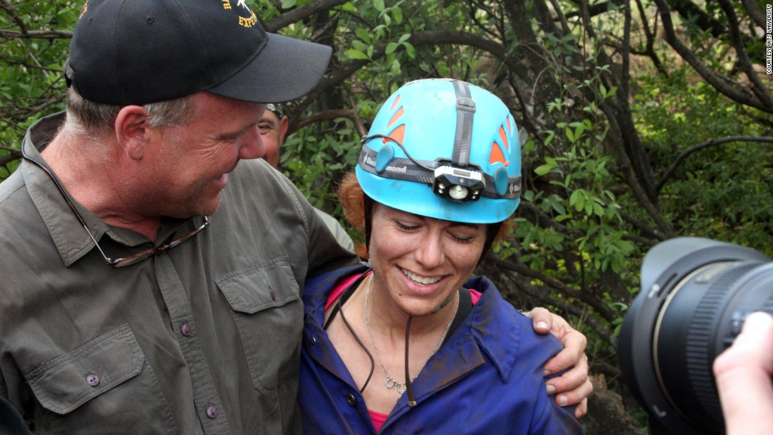 """These people are heroic in their efforts, they're risking their lives to go in there,"" said expedition leader Lee Berger (pictured with caver Lindsay Eaves). ""These explorers are squeezing their bodies through cracks and crevices where you have to cease breathing to push yourself through.""<br />"