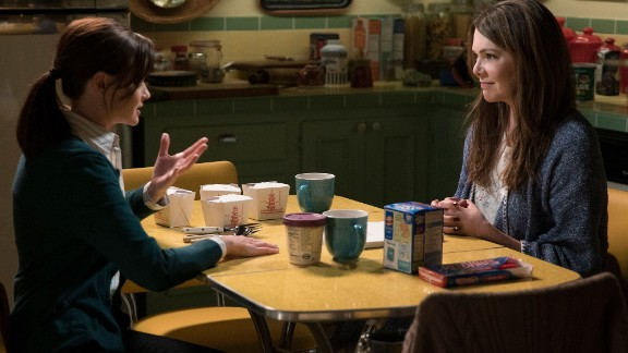 """So much joy! Rory (Alexis Bledel, left) and Lorelai (Lauren Graham) are back for Netflix's revival of """"Gilmore Girls."""" Here are some of the first images from the new episodes."""