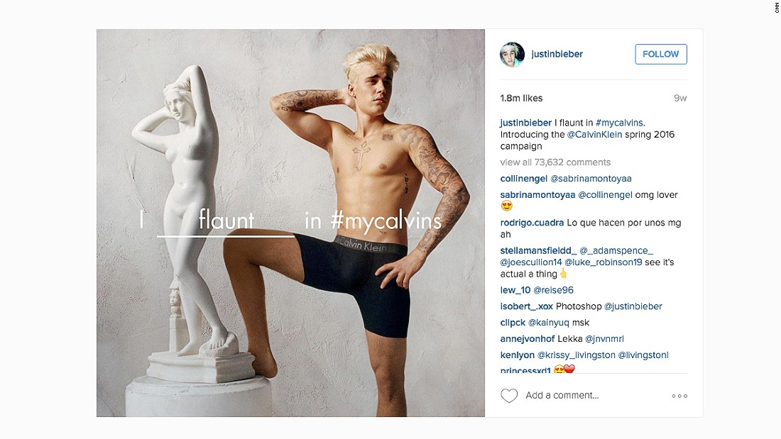 Justin Bieber leverages his social media following for the #mycalvins campaign. He has 64.8 million followers on Instagram.