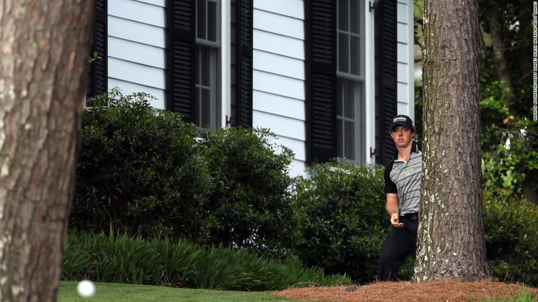 <strong>Masters meltdown: </strong>He still led by one on the 10th tee in the final round. But an errant drive into trees to the left of the fairway sparked a famous collapse as he dropped six shots in three holes.