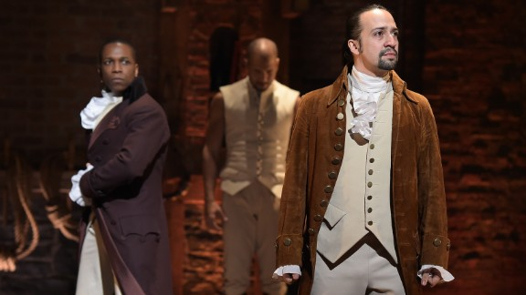 "Actor Leslie Odom, Jr. (L)  and actor, composer Lin-Manuel Miranda (R) perform on stage during ""Hamilton"" GRAMMY performance for The 58th GRAMMY Awards at Richard Rodgers Theater on February 15, 2016 in New York City."