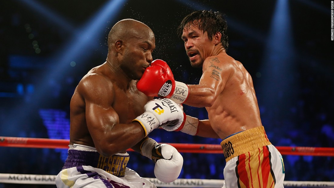Manny Pacquiao lands a left to the chin of Timothy Bradley Jr. during their welterweight fight in Las Vegas on Saturday, April 9. Pacquiao won a unanimous decision in what he said was the final fight of his career.