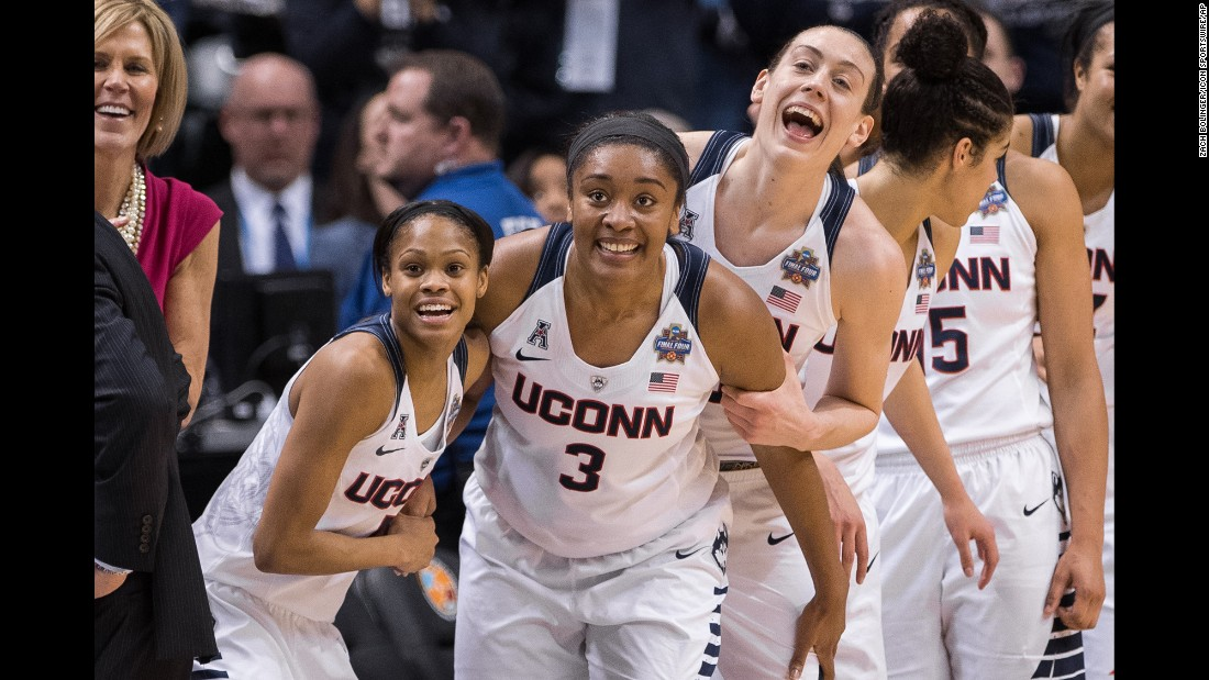 "Basketball players from Connecticut celebrate on the bench as they won <a href=""http://www.cnn.com/2016/04/06/sport/gallery/ncaa-womens-basketball-championship/index.html"" target=""_blank"">their fourth straight national title</a> on Tuesday, April 5."