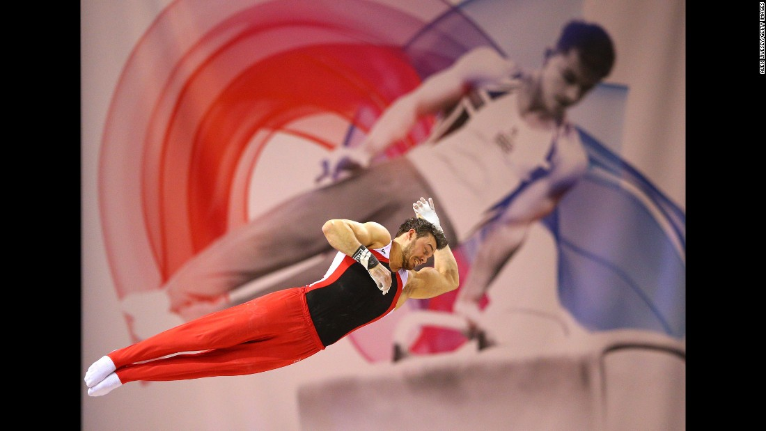 Kristian Thomas competes on the high bar during the British Gymnastics Championships on Sunday, April 10.