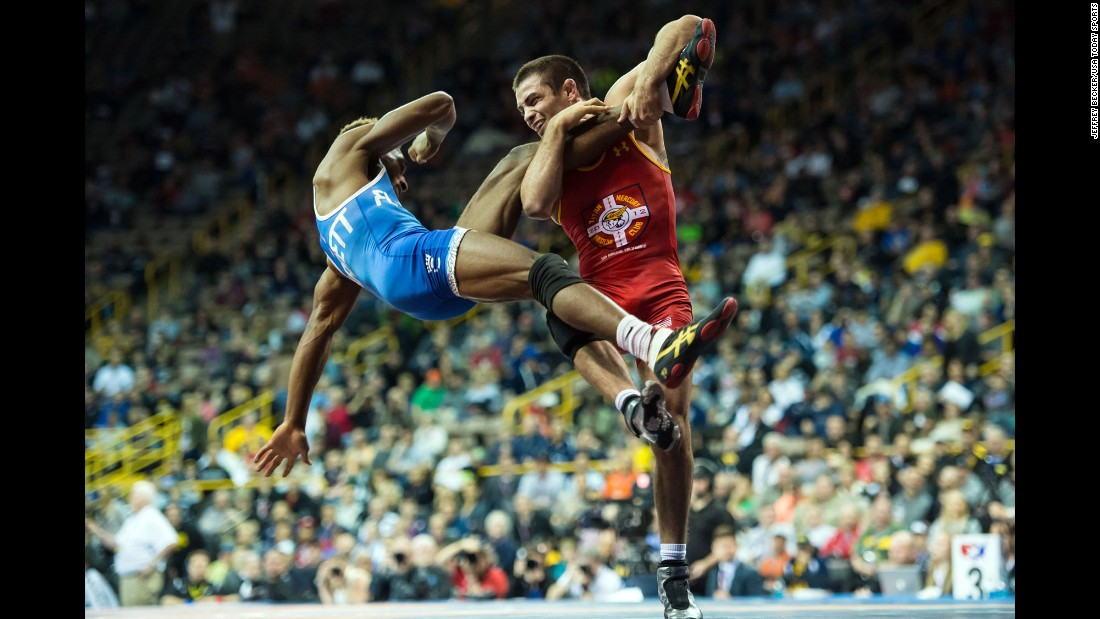 Tony Ramos, right, wrestles Nahshon Garrett during the U.S. Olympic Trials on Sunday, April 10.