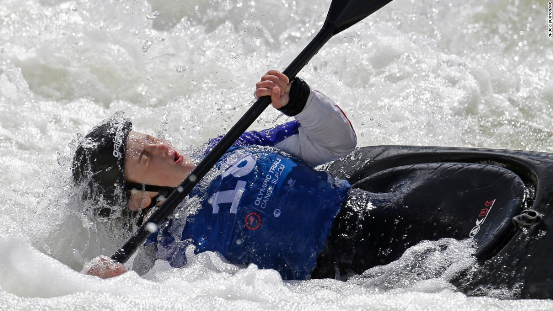 Kayaker Avery Davis pulls herself from the water Friday, April 8, during the first day of Olympic Team Trials in Charlotte, North Carolina.