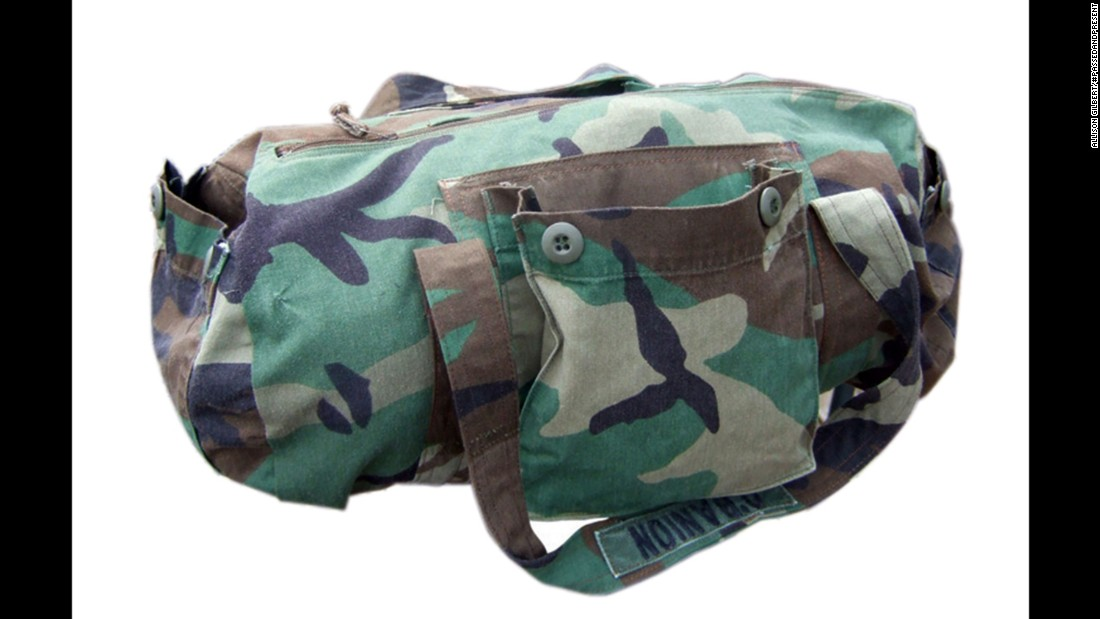 Fabrics from clothing or household items can be repurposed into everyday items for another generation. For example, this army jacket was remade into a duffel bag, Gilbert said.