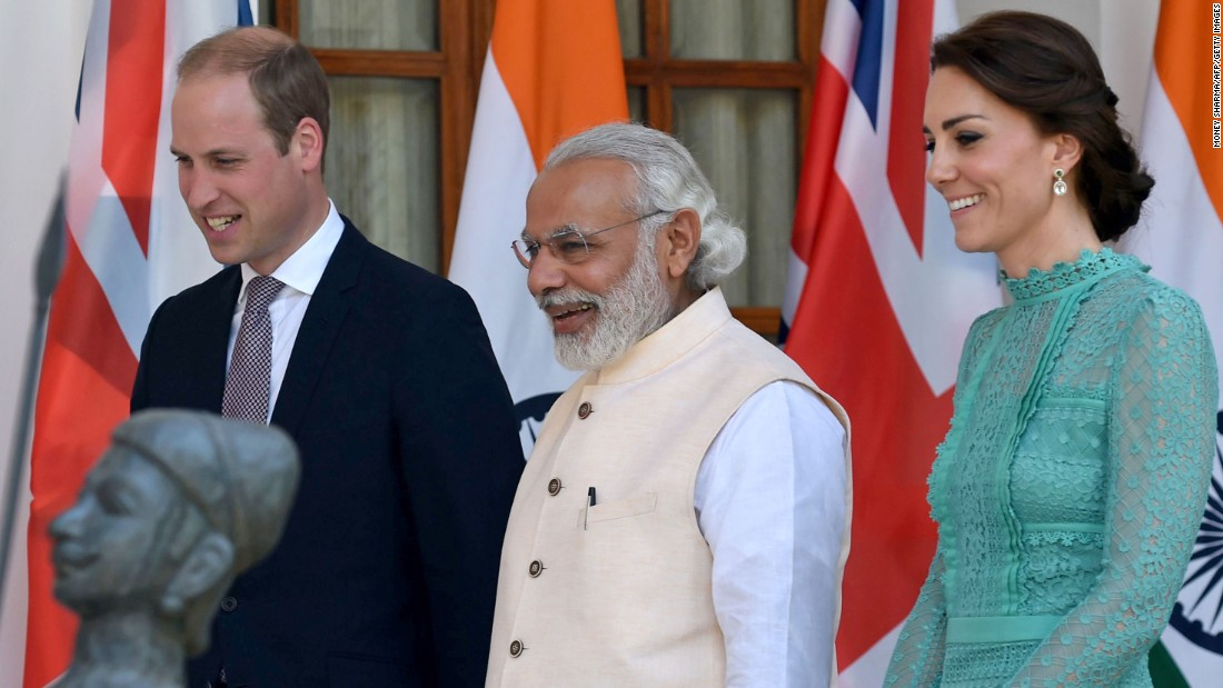 William and Catherine visit with Indian Prime Minister Narendra Modi before a lunch event in New Delhi on April 12.