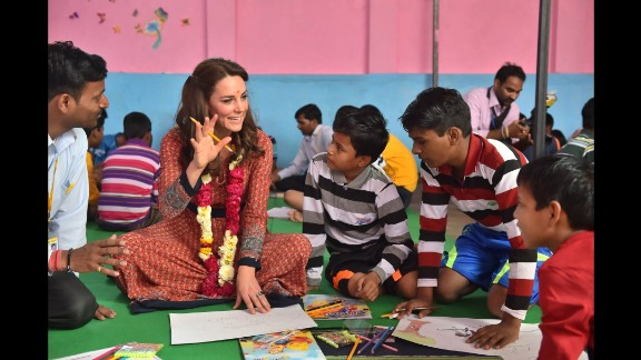 Catherine participates in an art class with children on April 12 at a center run by the charity Salaam Baala in New Delhi.