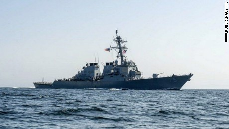 Russian fighter jets fly over U.S. destroyer.
