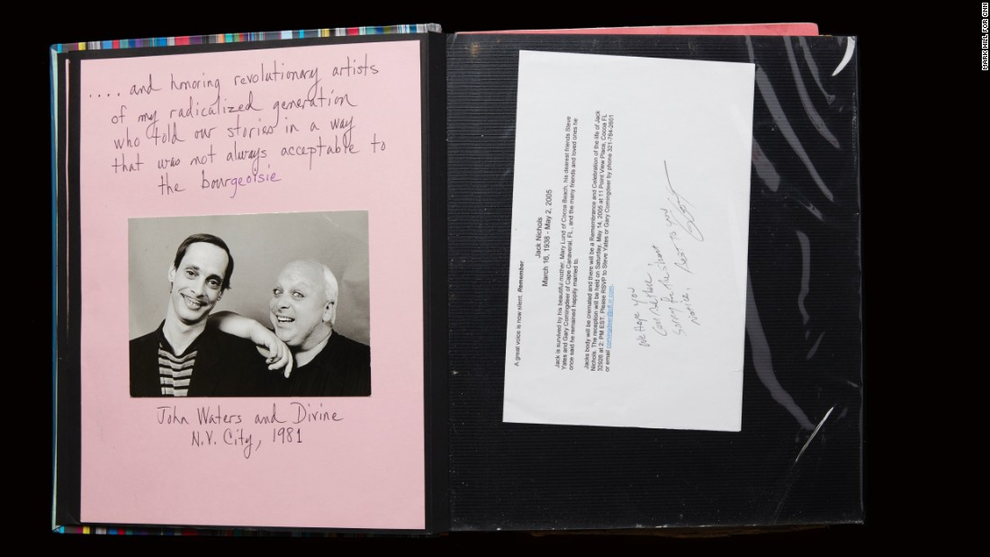 "Bivins' scrapbook captures the heartbreaking loss of friends to AIDS, including fellow founders of Black and White Men Together. It also highlights the power that came from supportive artists in the community, such as filmmaker John Waters and performer Divine, who Bivins called ""revolutionary artists of my radicalized generation who told our stories in a way that was not always acceptable to the bourgeoisie."""