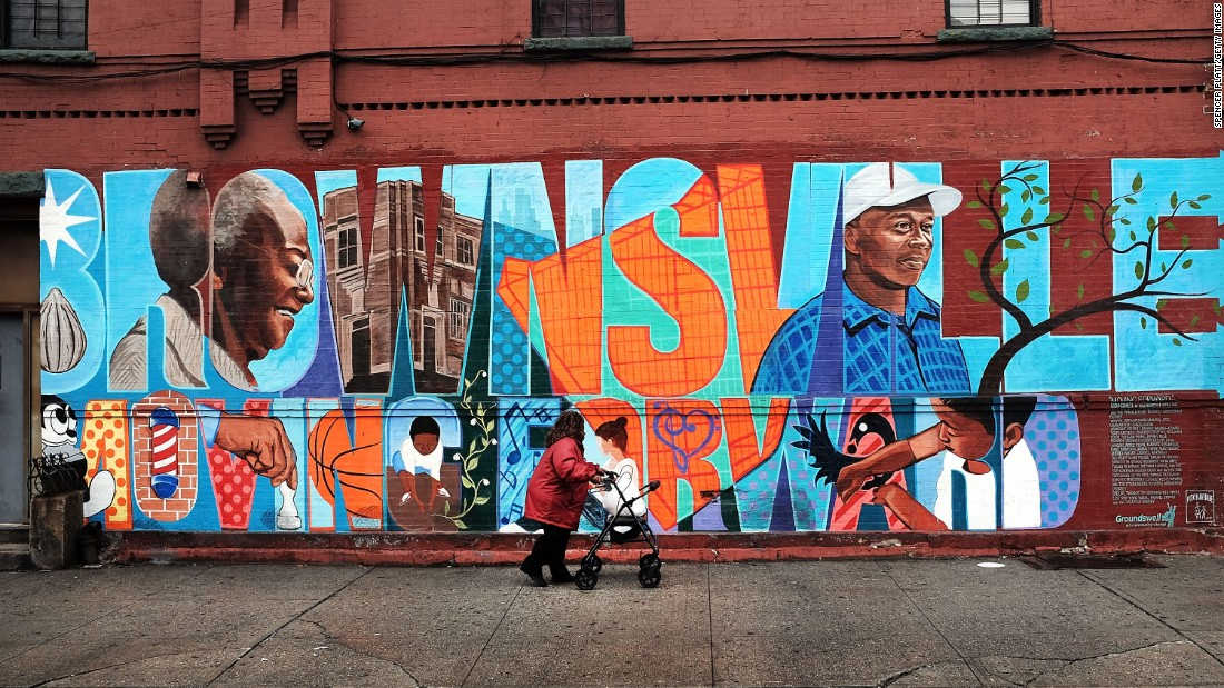 A mural in the Brownsville section of Brooklyn.