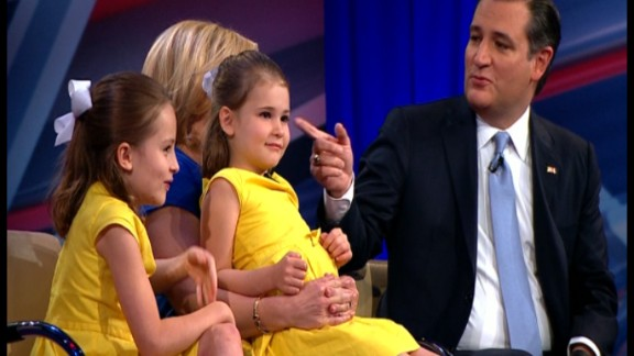 Ted Cruz and his family on the set of a CNN town hall.