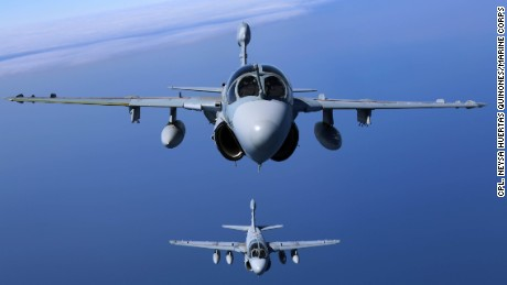 "Two EA-6B Prowlers belonging to each Prowler squadron aboard Marine Corps Air Station Cherry Point conducted a ""Final Four"" division flight aboard the air station March 1, 2016. The ""Final Four"" flight is the last time the Prowler squadrons will be flying together before the official retirement of Marine Tactical Electronic Warfare Training Squadron 1 at the end of Fiscal Year 16 and the eventual transition to ""MAGTF EW"". MAGTF EW is a more distributed strategy where every platform contributes to the EW mission, enabling relevant tactical information to move throughout the electromagnetic spectrum and across the battlefield faster than ever before. (U.S. Marine Corps photo by Cpl. N.W. Huertas/Released)"