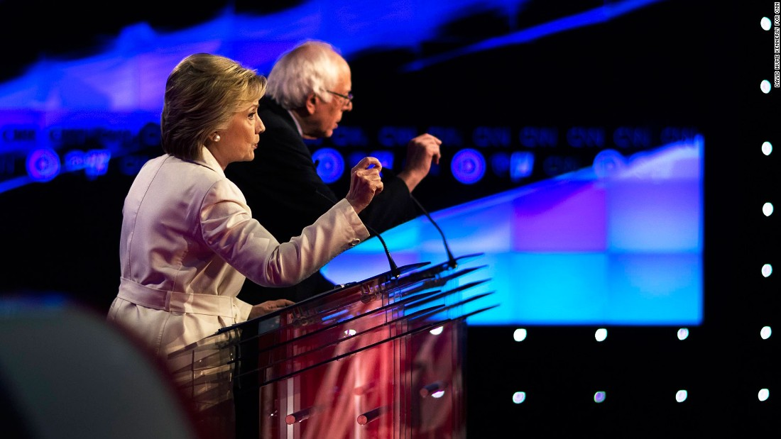 "Presidential candidates Hillary Clinton and U.S. Sen. Bernie Sanders take part in a CNN debate in New York on Thursday, April 14. <a href=""http://www.cnn.com/2016/04/15/politics/democratic-debate-new-york-takeaways/index.html"" target=""_blank"">Six takeaways from the debate</a>"