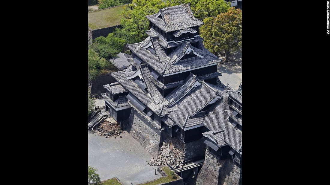 An aerial view shows damage at Kumamoto Castle on April 15.