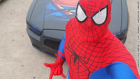 Fort Worth, Texas, police officer Damon Cole dressed as Spider-Man for 5-year-old Joshua Garcia's funeral. He posted the picture on his Facebook page.