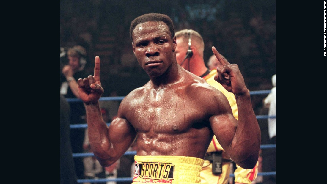 """When you're in the heat of battle you're intoxicated,"" said Eubank Sr. <br />""You're not sober, you can't make rational decisions like 'I'm hurt, I'm injured, therefore I should pull out.<br />""You're intoxicated, so you keep on going.""<br />Eubank Sr. is pictured here in 1995."