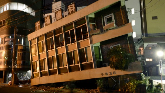 A severely damaged building in Kumamoto leans to one side on April 16 after the earthquake.
