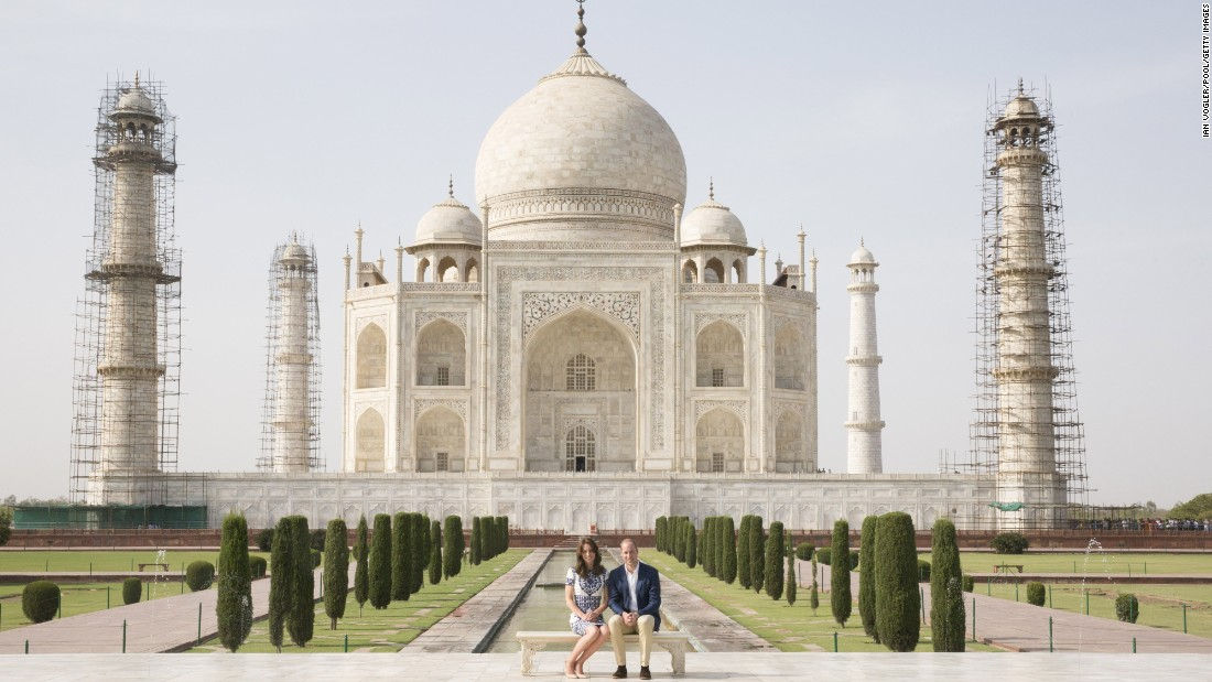 Prince William and Catherine, the Duke and Duchess of Cambridge, sit in front of the Taj Mahal on Saturday, April 16, in Agra, India. Princess Diana was photographed in the same spot in a famous photo from 1992. This is the last engagement of the Royal couple after a weeklong visit to India and Bhutan that has taken them to Mumbai, Delhi, Kaziranga, Thimphu and Agra.