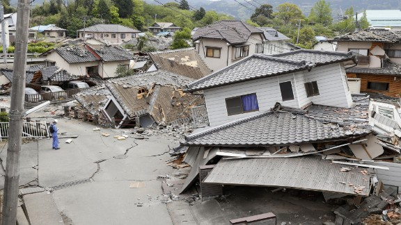 """Damaged houses are seen after an earthquake in Mashiki. """"This is the worst thing that could happen to us,"""" said Shigeru Morita, an official in the town."""