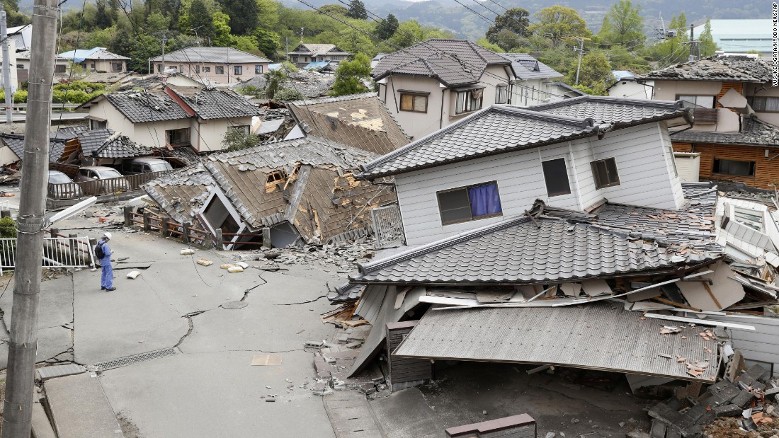 "Damaged houses are seen after an earthquake in Mashiki. ""This is the worst thing that could happen to us,"" said Shigeru Morita, an official in the town."