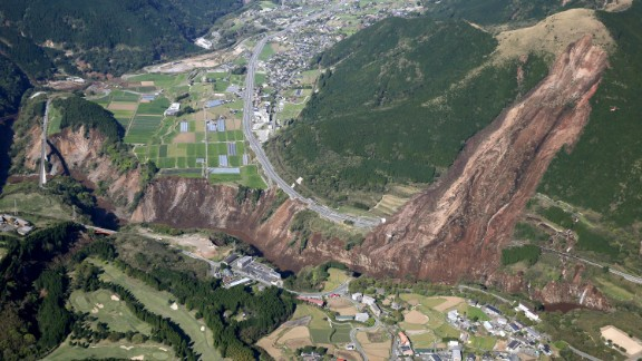 An earthquake caused a landslide in Minamiaso in Kumamoto Prefecture.